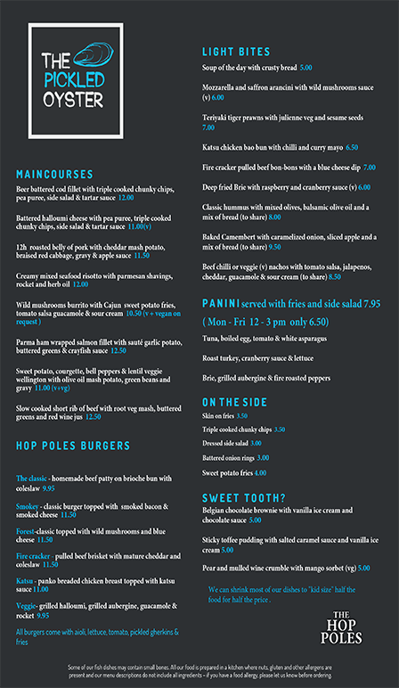Weekly Sample Menu at the Hop Holes Pub In Brighton