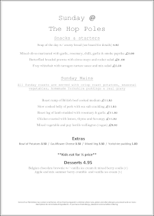 The Hop Holes Pub Brighton - Sunday Food Menu